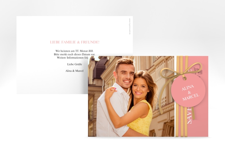 """Save the Date-Karte """"Classic"""" A6 quer rosa"""