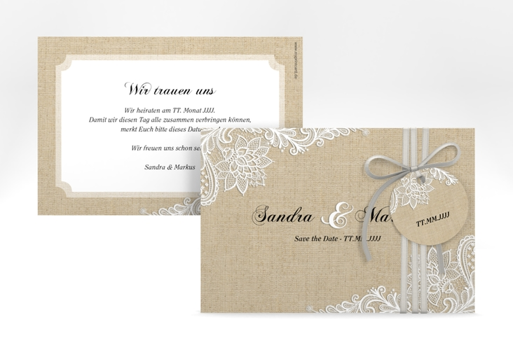 """Save the Date-Karte """"Lace"""" A6 quer"""