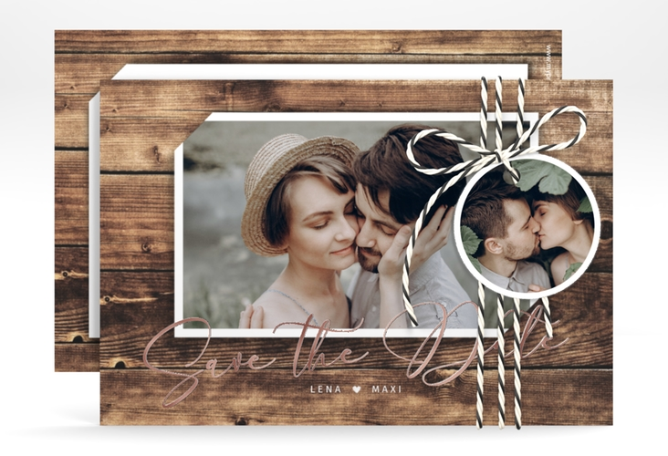 """Save the Date-Karte """"Rustic"""" A6 quer"""