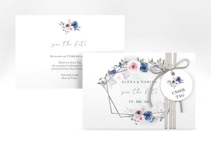 """Save the Date-Karte """"Dustyblue"""" A6 quer"""
