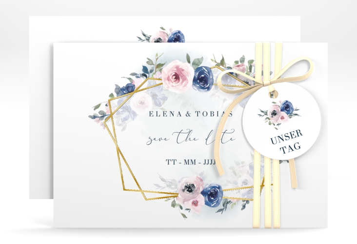 """Save the Date-Karte """"Dustyblue"""" A6 quer weiss"""
