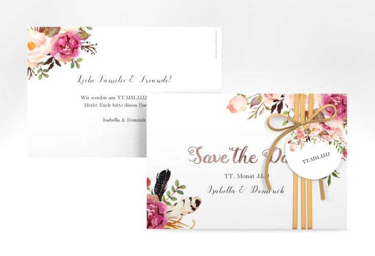 """Save the Date-Karte """"Flowers"""" A6 quer weiss"""