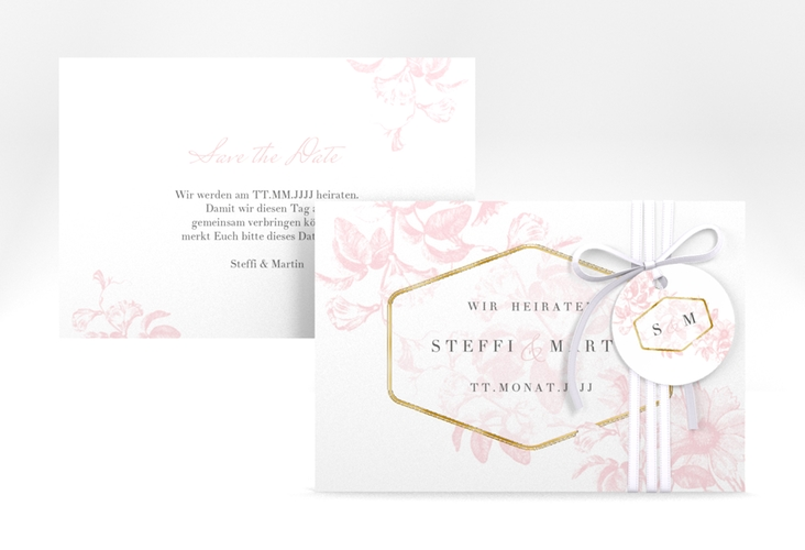 """Save the Date-Karte """"Magnificent"""" A6 quer rosa"""