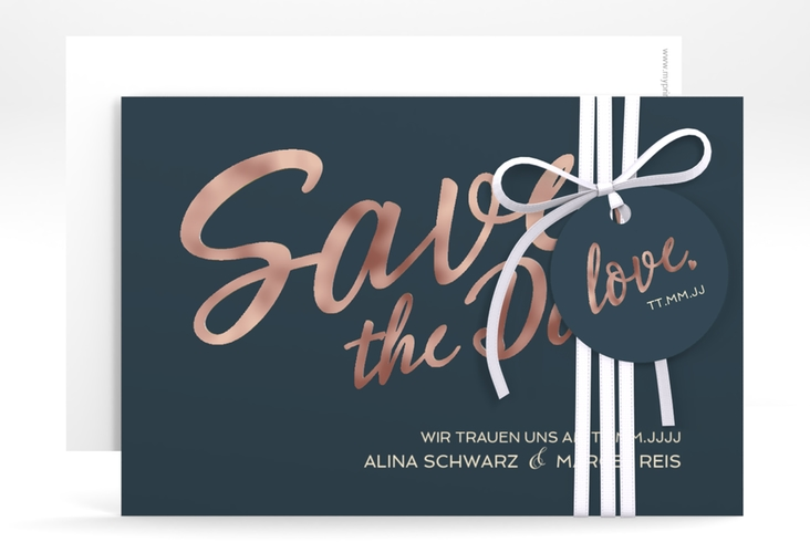 "Save the Date-Karte ""Glam"" A6 quer blau"