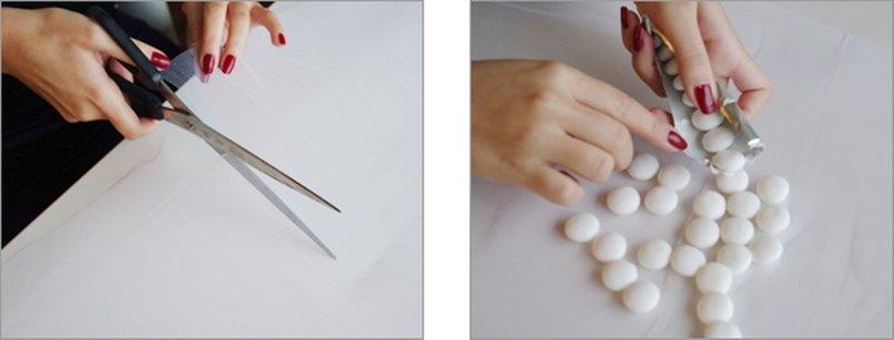 Tüll für Bonboniere zuschneiden und Süßigkeiten in der Mitte platzieren