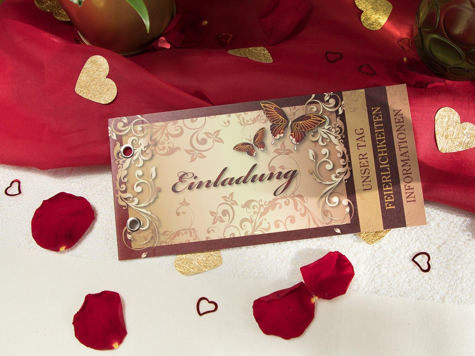 Fesselnd Hochzeitseinladungen Mit Schmetterlingen In Rot Und Gold. Die  Hochzeitseinladung ...