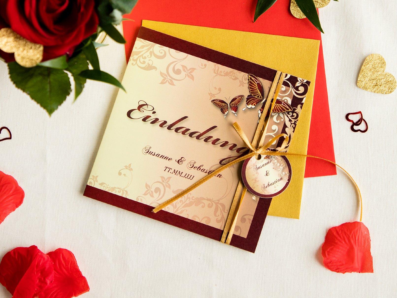 Hochzeiteinladung Mit Schmetterling Für Ein Edles Hochzeitsfest