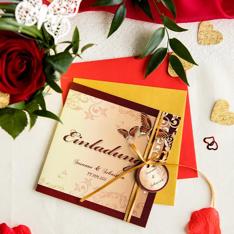 Hochzeiteinladung Mit Schmetterling Fur Ein Edles Hochzeitsfest