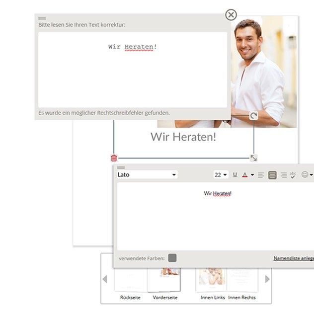 automatische Rechtschreibprüfung im Karten-Editor von myprintcard