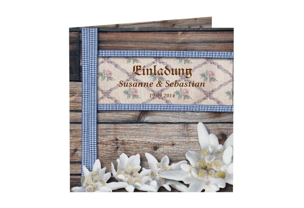 hochzeitskarten im bayerischen stil - rustikal mit edelweiß, Einladungsentwurf