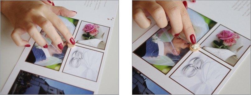 Schaumgummi-Kreise in Danksagungskarte Hochzeit einkleben