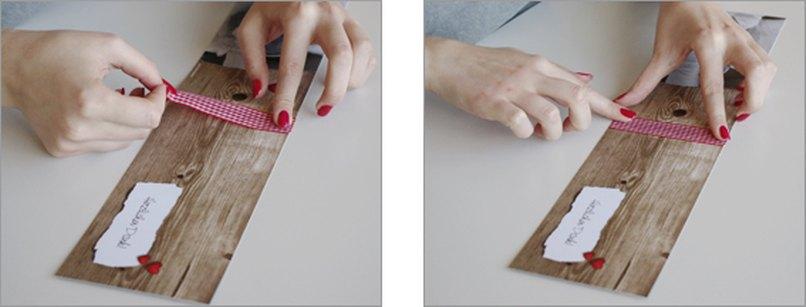 Karoband auf Hochzeitskarte aufkleben