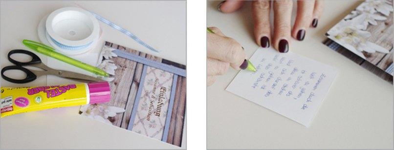 Einladungskarte bayerische Hochzeit Bastelschritt 1