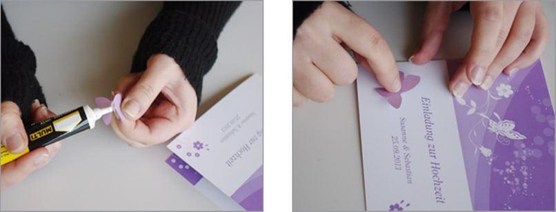 Einladungskarte Schmetterling 3D Bastelschritt 4