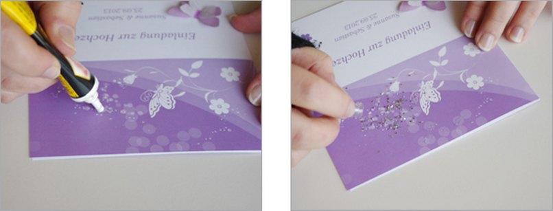 Einladungskarte Schmetterling 3D Bastelschritt 7