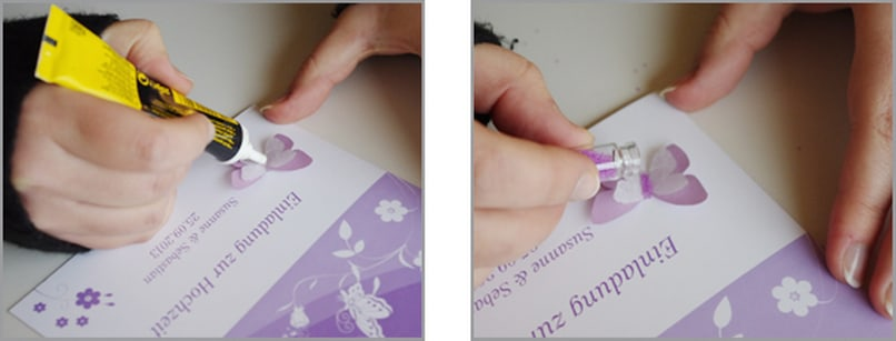 Einladungskarte Schmetterling 3D Bastelschritt 6