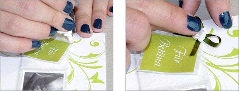 Einladungskarte mit Namenskärtchen. Schritt 7