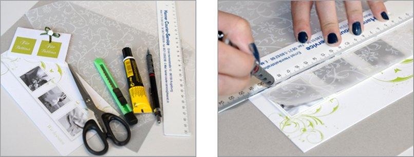 Einladungskarte mit Namenskärtchen. Schritt 1