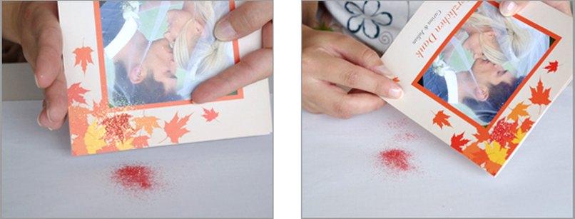 Hochzeitskarten mit glitzernden Herbstblättern. Schritt 3