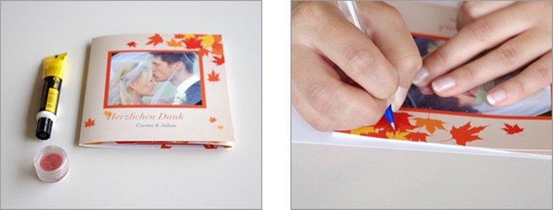 Hochzeitskarten mit glitzernden Herbstblättern. Schritt 1