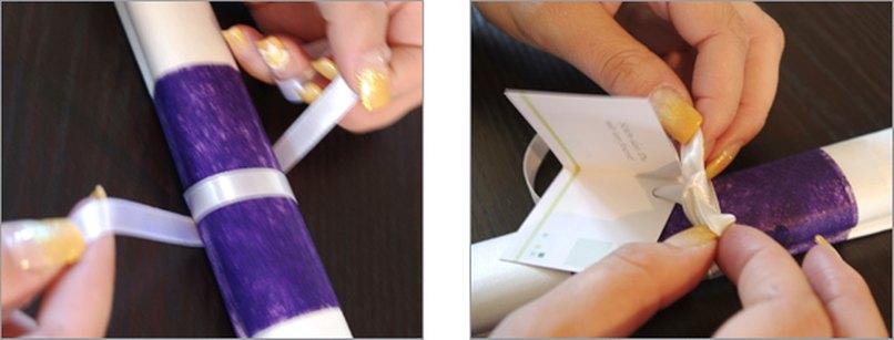 Serviettenbanderole mit Geschenkanhänger. Schritt 3