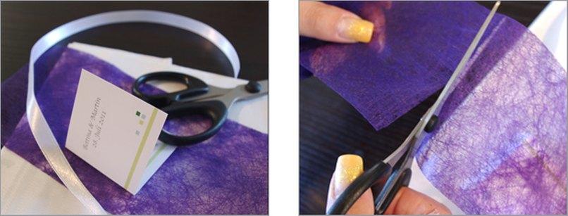 Serviettenbanderole mit Geschenkanhänger. Schritt 2