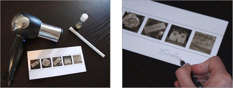 Einladungskarten mit Embossing Schriftzug. Schritt 1