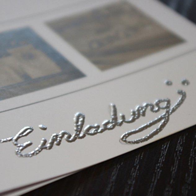 Einladungskarten mit Embossing Schriftzug
