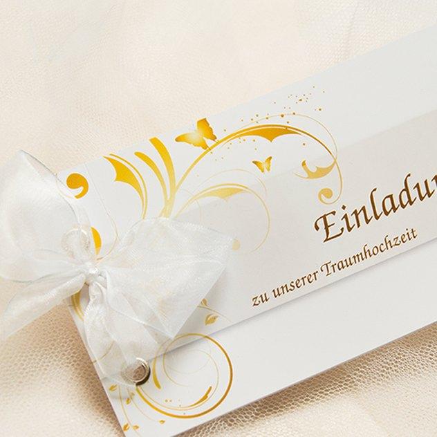 Booklet-Hochzeitskarte mit Schleife