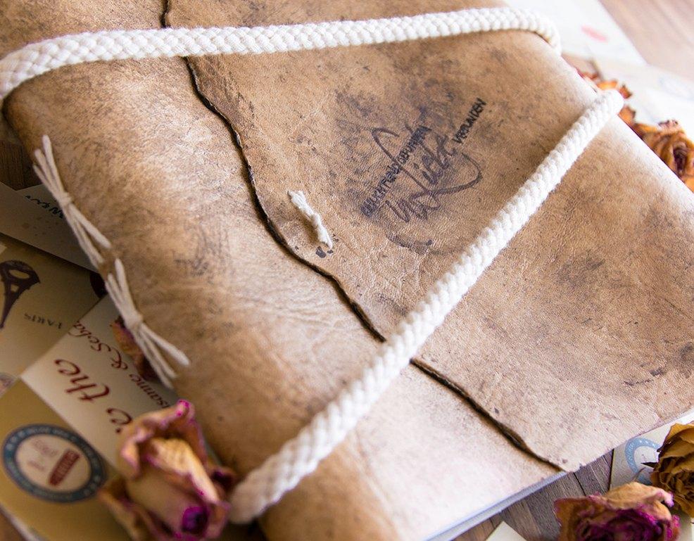 Vintage Ledereinband Fur Euer Gastebuch Zur Hochzeit Myprintcard