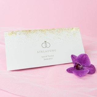 glamouröse Hochzeitseinladung mit goldenem Glitzer