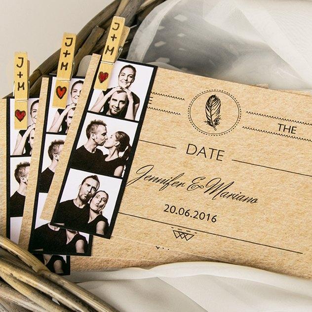 Hochzeitseinladung mit Fotostreifen