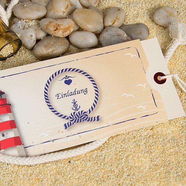 maritime Einsteckkarte als Hochzeitseinladung