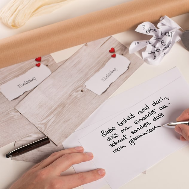 Gute Idee, Hand, Schreiben, Einladung, Mustertext