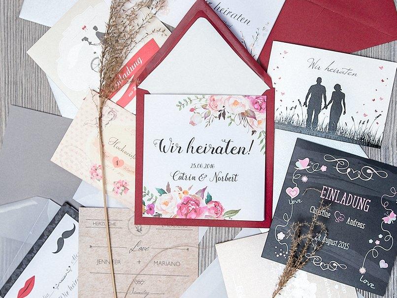Immer die ganze Kartenkollektion anschauen, um die perfekte Hochzeitseinladung zu finden.