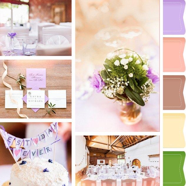 Die beliebteste Hochzeitsfarbe Lila in einem Moodboard für Euch zusammengestellt