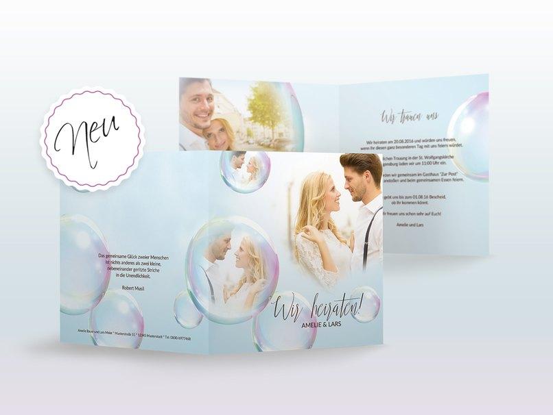 Dreams ist die Hochzeitseinladung für alle Romantiker die Seifenblasen lieben