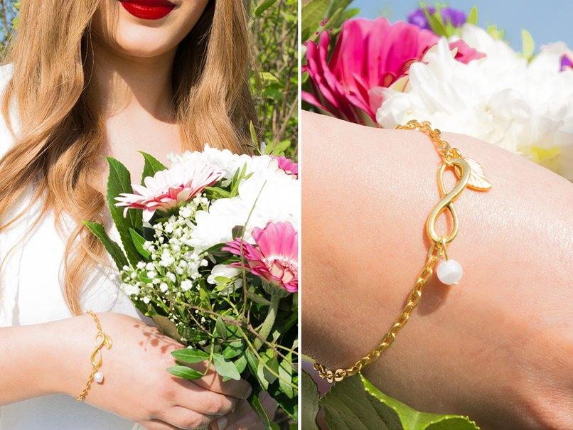 Edles Armkettchen, das den unendlichen Bund zwischen Braut und Trauzeugin symbolisiert.