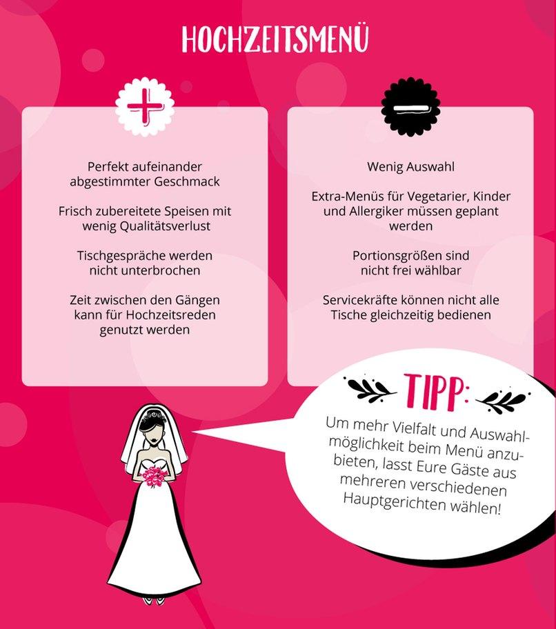 Das Hochzeitsmenü - Vorteile und Nachteile