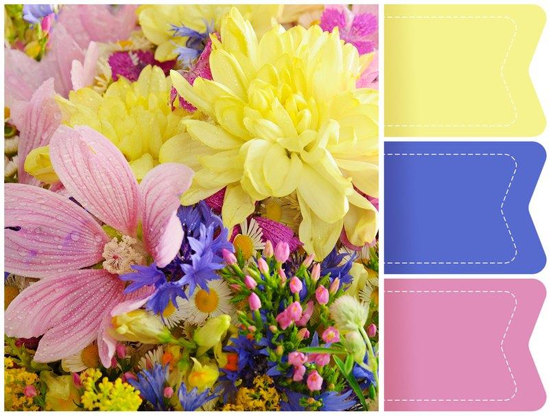 Perfekt für die Sommerhochzeit. Ein Farbkonzept im Stil des Wiesenblumenstraußes