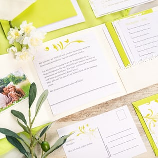 selbstgemachte Pocketfold-Karten zur Hochzeit