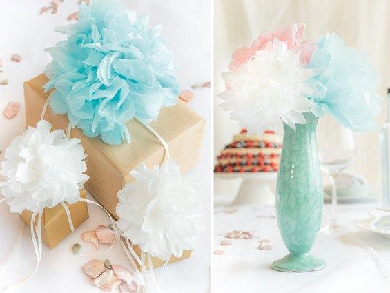 Pompons sehen super als Hochzeitsdeko aus