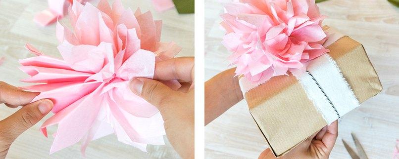 Alle Papierlagen auseinander ziehen, um einen runden Pompon zu erhalten