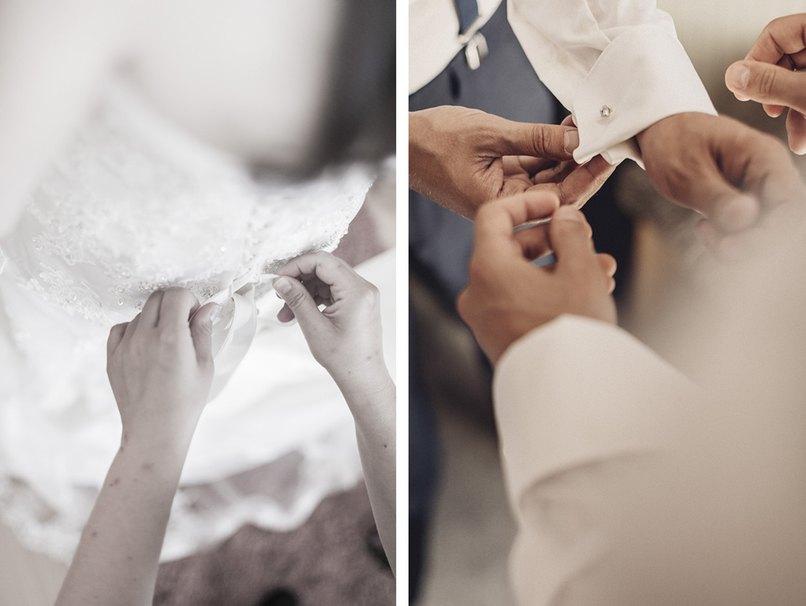 Trauzeugen stehen Braut und Bräutigam beim Ankleiden zur Seite