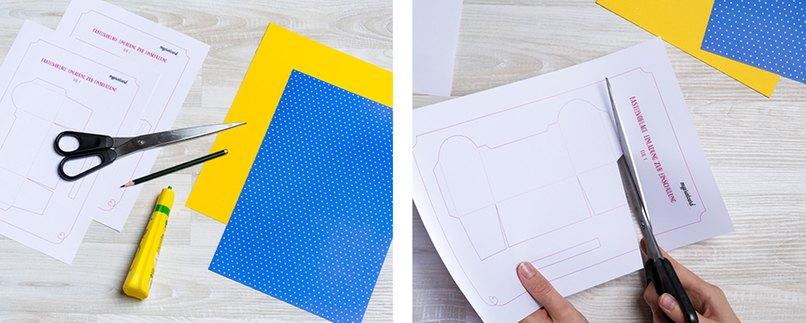 Vorlage für Geschenkverpackung in Schulranzen-Form ausschneiden
