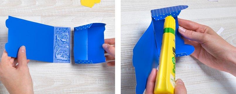 Teile für Geschenkverpackung in Schulranzen-Form kleben