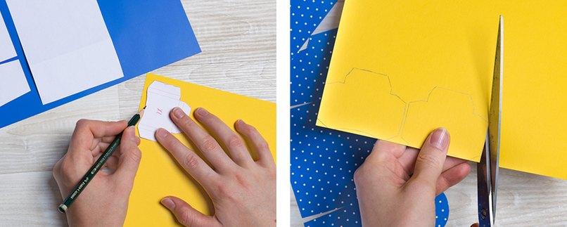 Schablone für Geschenkverpackung in Schulranzen-Form herstellen