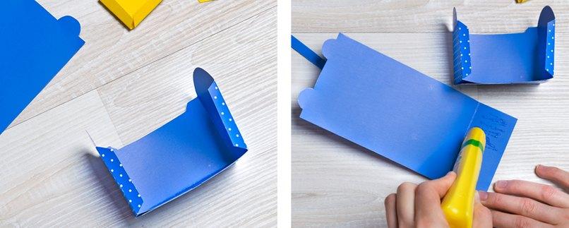Teile für Geschenkverpackung in Schulranzen-Form falzen und kleben