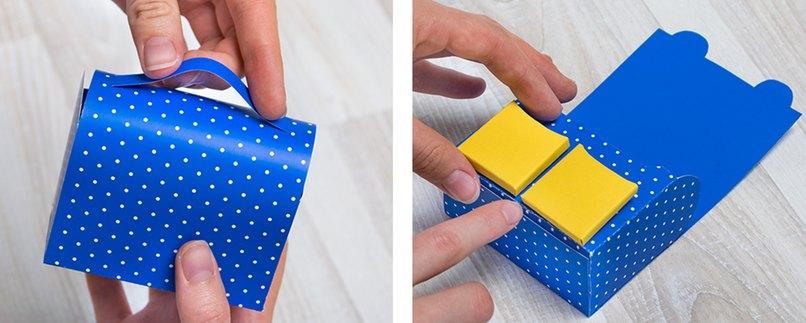 Geschenkverpackung in Schulranzen-Form mit Henkel und Taschen verzieren