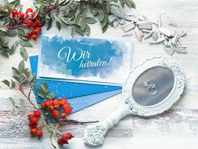 Preview auf die neuen Hochzeitseinladungen für die Winterhochzeit